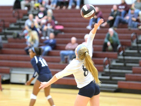 Lee High's Anna Kopia serves during Tuesday night's Shenandoah District volleyball tournament opener against Stuarts Draft. Lee won 3-1.