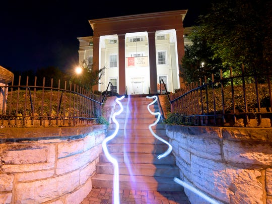 The steps of Stuart Hall School in Staunton see streaks of light thanks to a timed camera exposure and a technique called light painting. It offers a certain spooky effect.