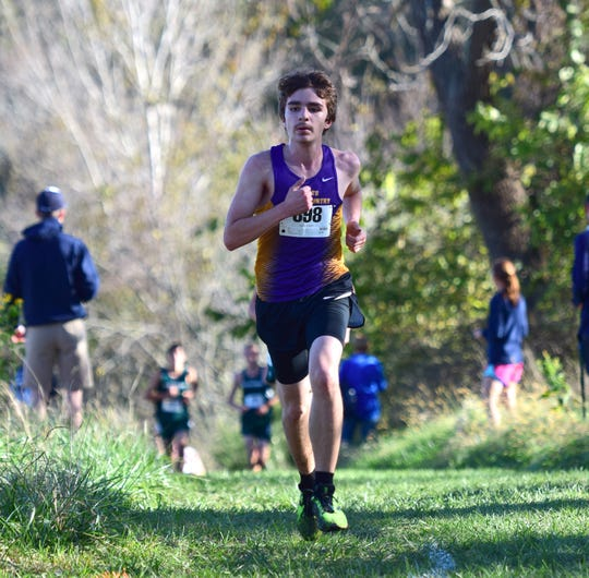 Waynesboro's Jacob Robeck competes in the boys varsity race at the Valley District Cross Country Championships on Tuesday, Oct. 23, 2018, at Mill Place Park in Verona, Va.