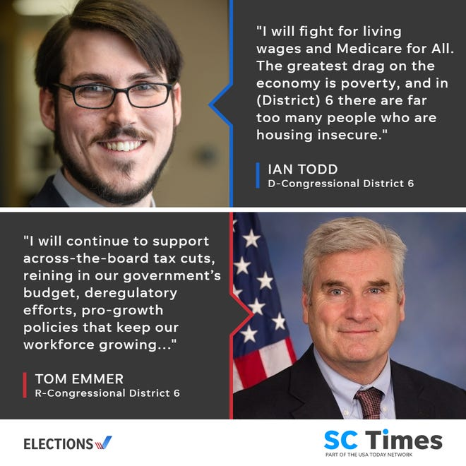 Ian Todd, DFL, and Tom Emmer, GOP, are the two candidates running to represent Minnesota's 6th District in Congress. Emmer is the incumbent.