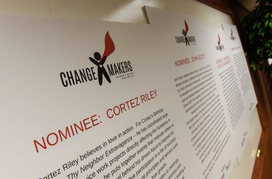 Information on ChangeMakers finalists is displayed Tuesday, Oct. 23, during an awards ceremony at the St. Cloud Federal Credit Union.
