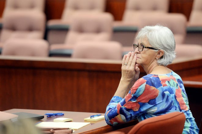 Linda Hillman, a former Vero Beach City Council candidate who was disqualified because of missing signatures, appears in Judge Paul Kanarek's courtroom Wednesday, Oct. 24, 2018 at the Indian River County Courthouse in Vero Beach. Hillman is suing the city for improperly removing her from the ballot after the Canvassing Board reinstated her and is asking the court to mandate the City of Vero Beach to hold a special election with her on the ballot.