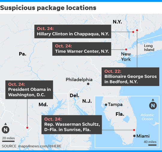 Locations of suspicious packages discovered since Monday.