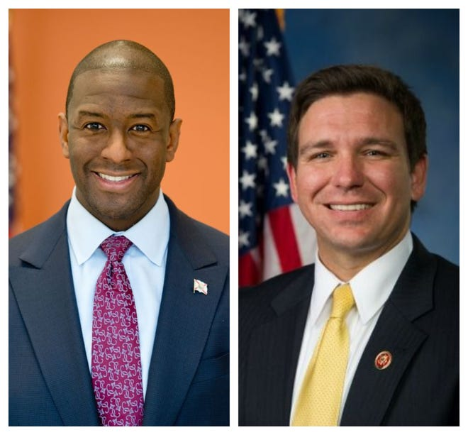 Andrew Gillum, left, and Ron DeSantis are running for Florida governor.