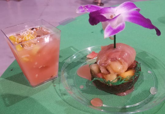 The Twisted Tuna's Twisted Bahama Mama (left) and Twisted Scallop were samples at the Big Taste of Martin County. The Bahama Mama won the Best Drink award.
