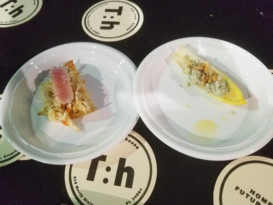 Big Taste of Martin County salad winner Talk:House's endive salad (left) along with an entree of sliced tuna on a taro chip with Asian slaw