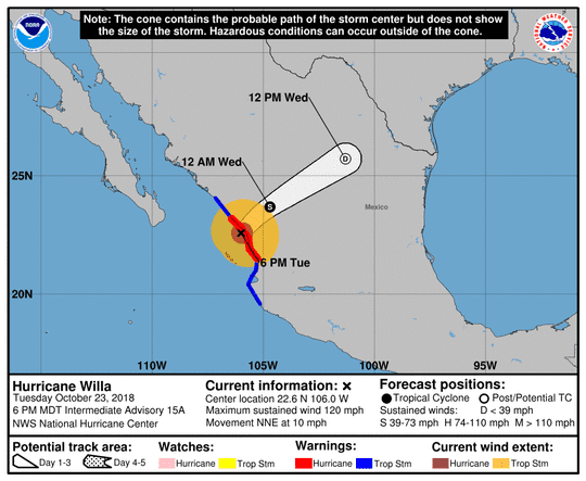 Projected path of Hurricane Willa as of 8 p.m. Tuesday, Oct. 23, 2018.