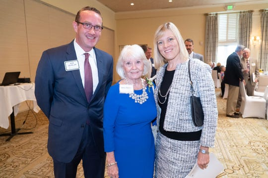 Ron Quinlan, left, Betsy Herold and Elizabeth Fedele at Martin Health Foundation's inaugural Legacy Society luncheon at Willoughby Golf Club in Stuart.