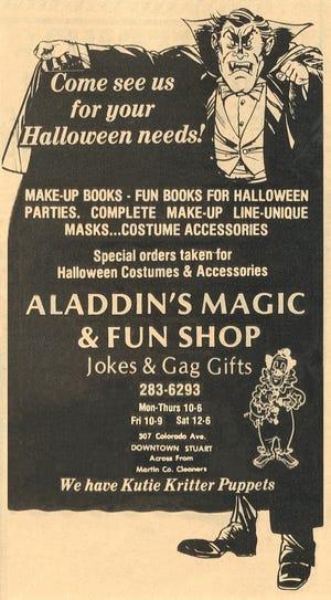 Ad for Aladdin's Magic and Fun Shop on Colorado Avenue in October 1979.