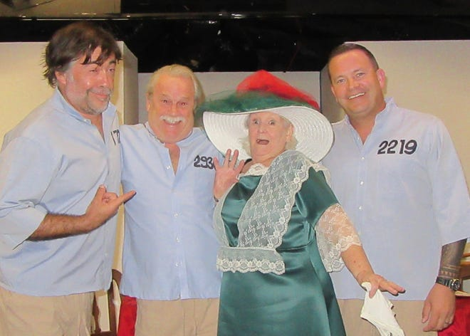 """See the three convicts and a local 'Well to do Lady' in the Pineapple Playhouse  comedy, """"My Three Angels."""" From left are: David Tanner, Joe Moore, Mary Moriarty and Alex Yahn."""