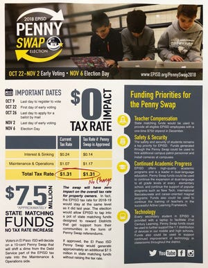 A mailer sent out to residents in the El Paso Independent School District illustrates the district's funding priorities for its upcoming penny swap election.