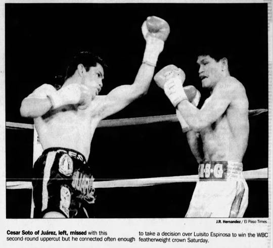Cesar Soto of Juarez, left, missed with this second=round uppercut but he connected often enough to take a decision over Luisito Espinosa to win the WBC featherweight crown Saturday.