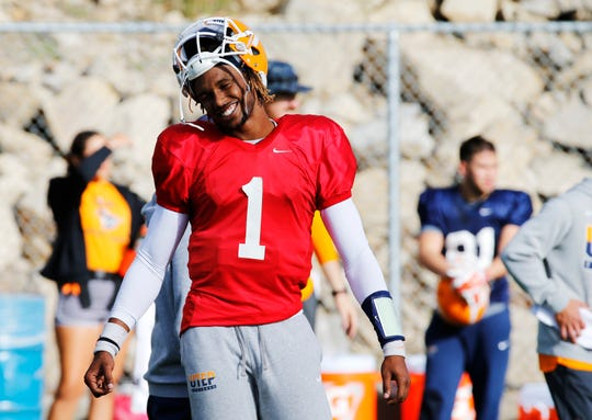 UTEP starting quarterback Kai Locksley reacts to an incomplete pass thrown by his backup, Brandon Jones, as he put the team through drills Wednesday morning as the team prepares for their game Saturday afternoon against UAB.