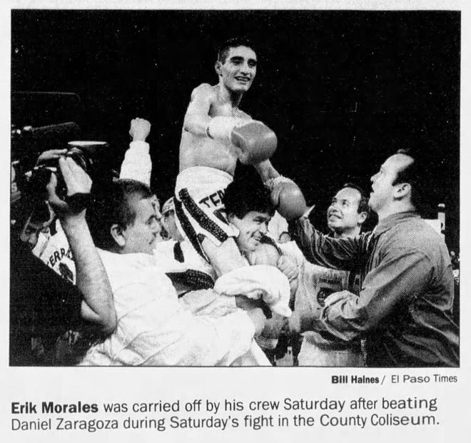 Erik Morales was carried off by his crew Saturday after beating Daniel Zaragoza during Saturday's fight in the County Coliseum.