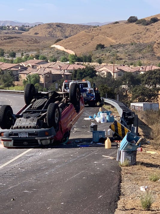 Overturned Pick Up Truck