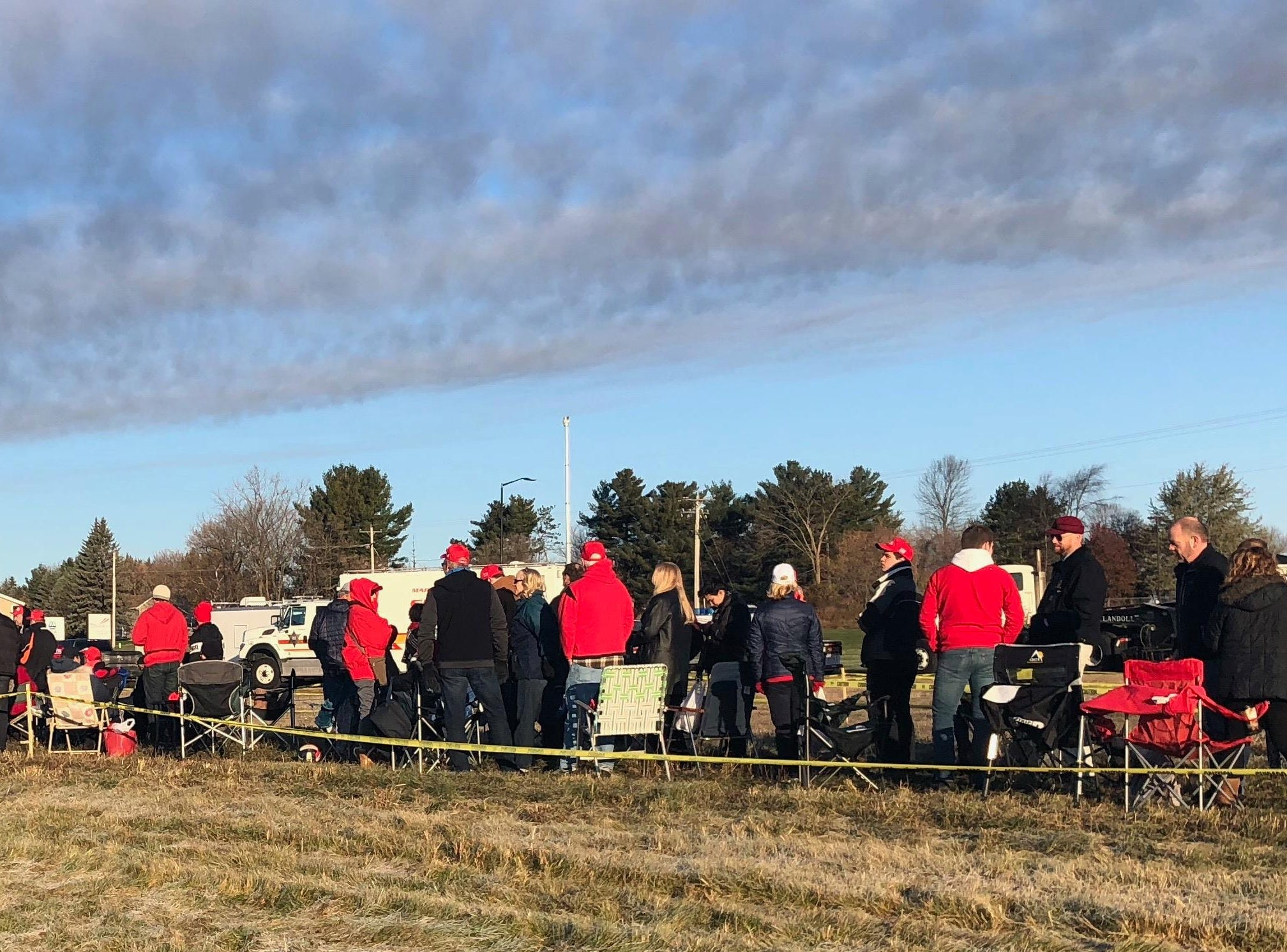 Trump fans in line for the presidential rally on Wednesday at 8:15 a.m.