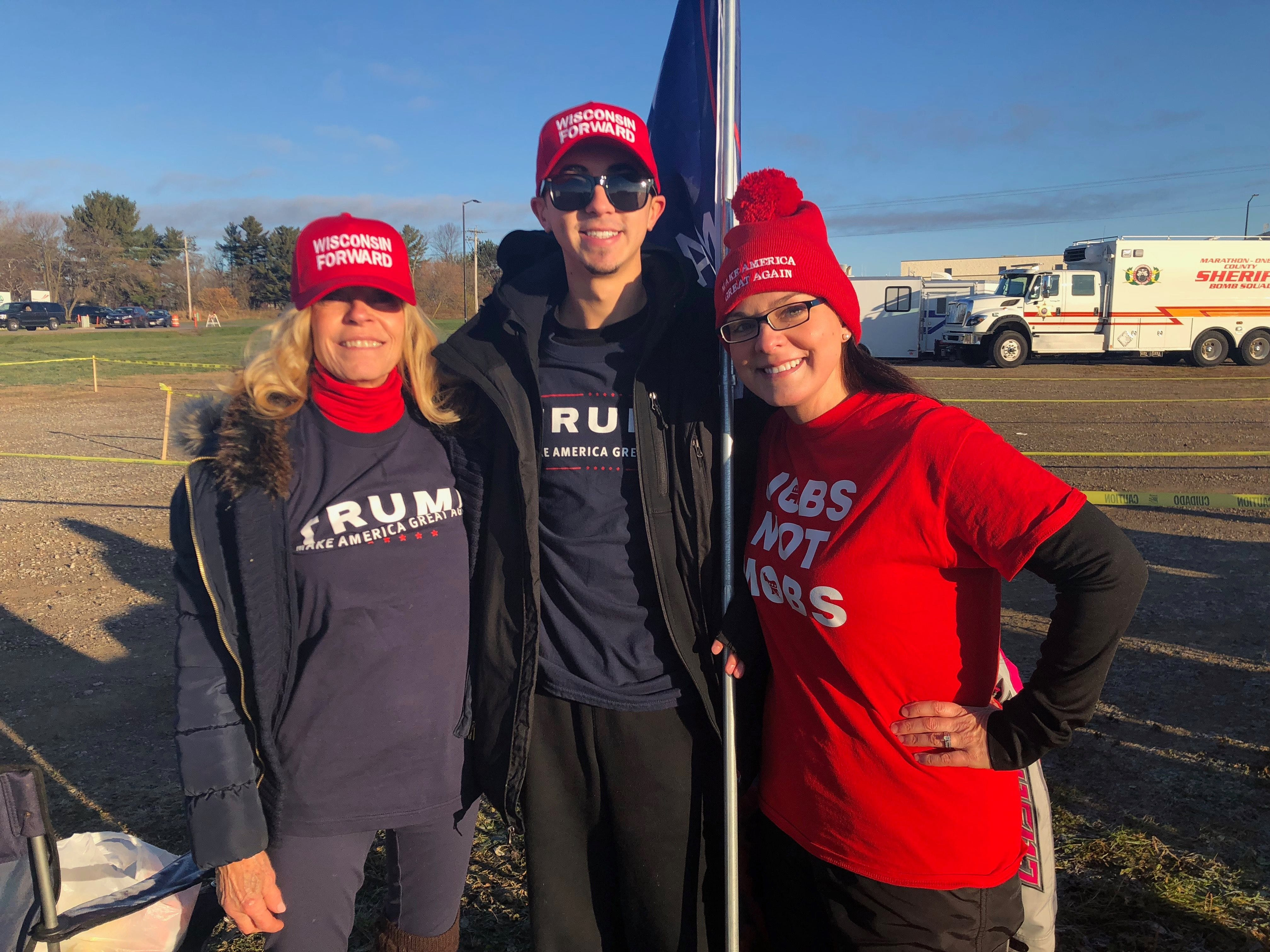 Jody Quinnell, Chaz Fuller and Jennifer Hunter were the first three Trump fans in line, showing up around 6:30 p.m. Tuesday night and camping overnight in tents.