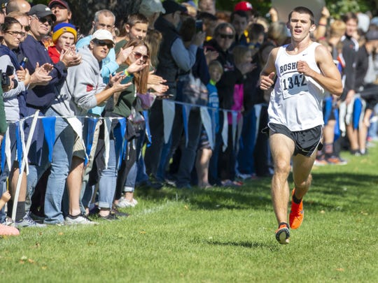Rosholt's Adam Rzentkowski finishes first at the Lourdes Academy Invite on Sept. 22 at Lake Breeze Golf Course. The senior has the top qualifying time in the Division 3 boys field for the WIAA state cross country meet this weekend.