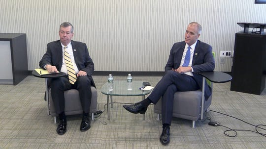 Orange County Legislator and Republican challenger James O'Donnell, left, and Democratic incumbent Congressman Sean Patrick Maloney of NY-18th District, take part in a discussion in the lead up to the mid-term elections at The Journal News Headquarters in White Plains on Wednesday, October 24, 2018.