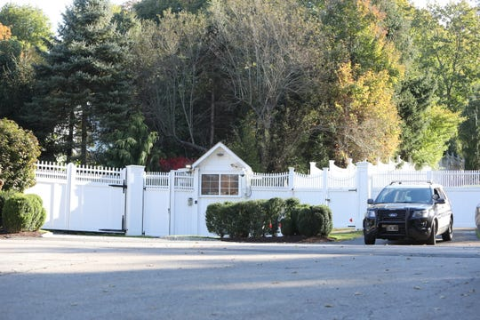 The Hillary and Bill Clinton compound on Old House Lane in Chappaqua, New York, Wednesday, Oct. 24, 2018. An explosive device sent to Hillary Clinton was intercepted.