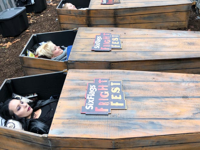 Contestants spend 30 hours in coffins during Fright Fest at Six Flags in St. Louis, Missouri.
