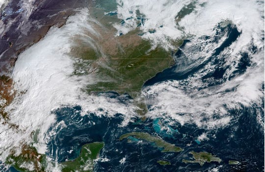 This NOAA satellite image from Wednesday morning shows the remnants of Hurricane Willa to the left, which will fuel a nor'easter as it moves up the East Coast and hits Delaware with rain and strong winds Friday into Saturday.