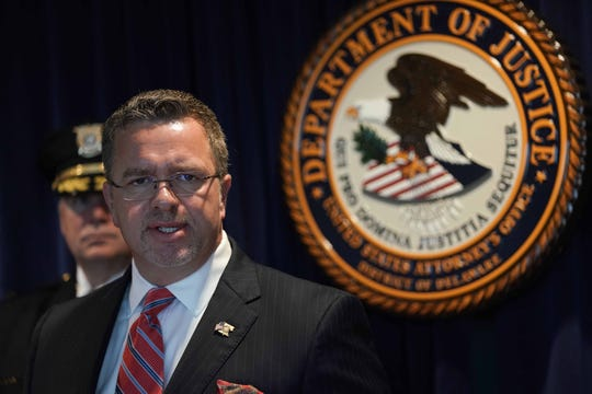 DEA Assistant Special Agent-in-Charge Shawn Ellerman speaks at the U.S. Attorney's Office.