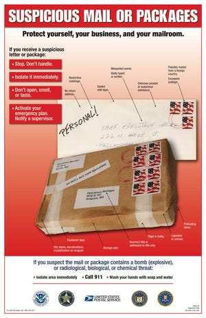 The United Postal Service give advice on how to identify suspicious packages.