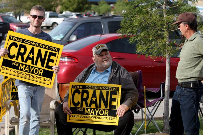 Lowry Crane, who is running for Wichita Falls mayor, campaigns Tuesday, Oct. 23, 2018, outside Home Depot.