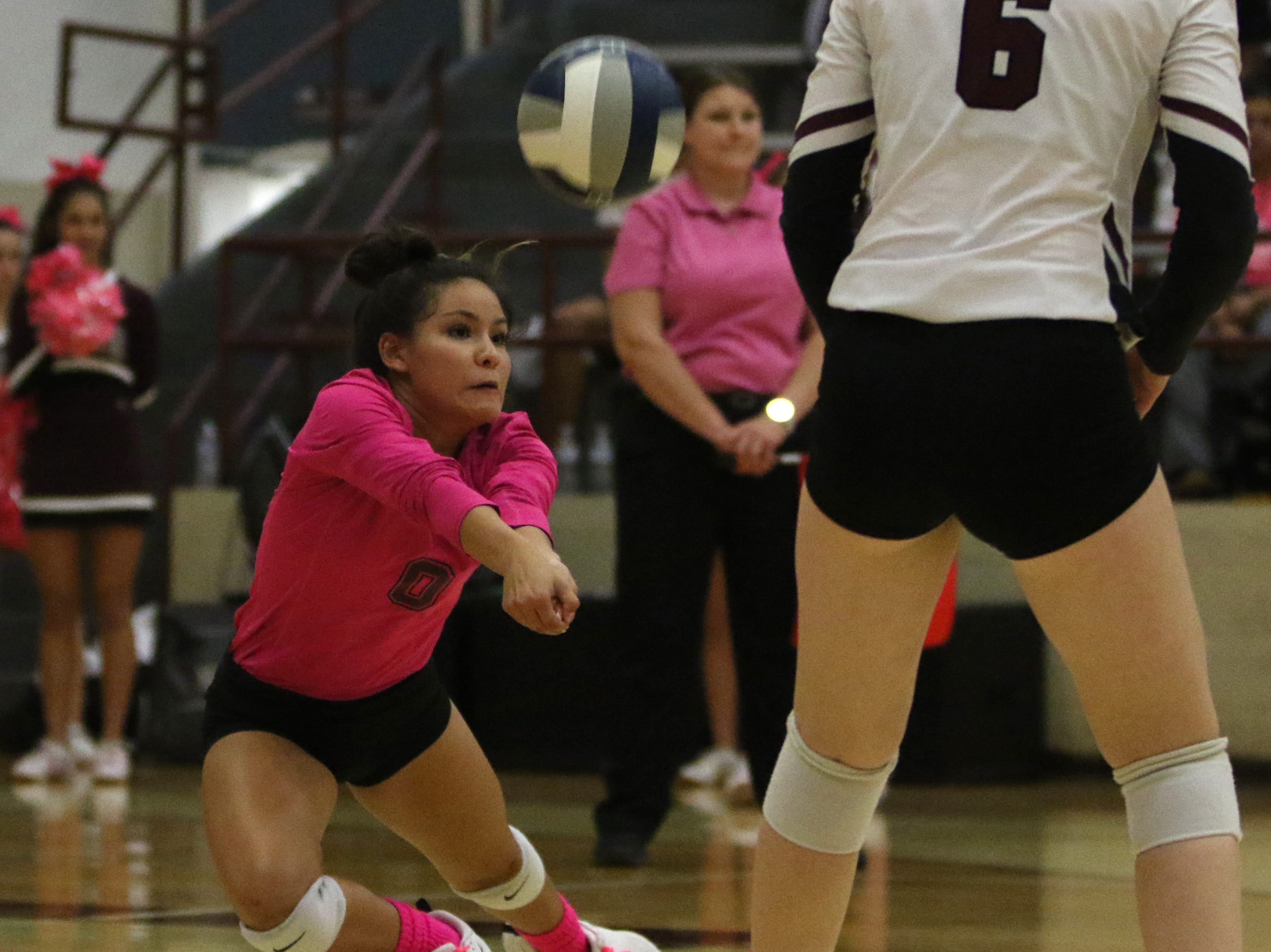 Vernon's Nevaeh Guerra keeps the ball in play against Graham Tuesday, Oct. 23, 2018, in Vernon. The Lady Blues defeated the Lady Lions 4-1.