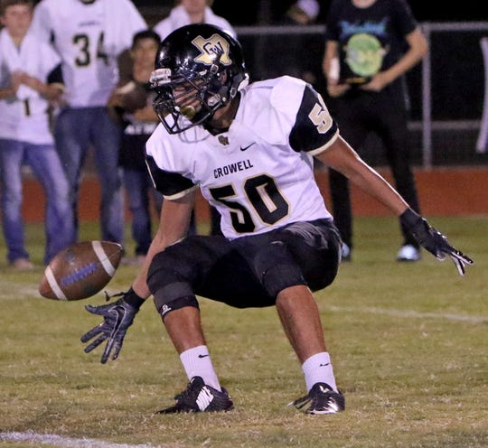 Crowell's Gabriel Gomez Friday, Oct. 5, 2018, in Bryson. The Wildcats defeated the Cowboys 79-31.