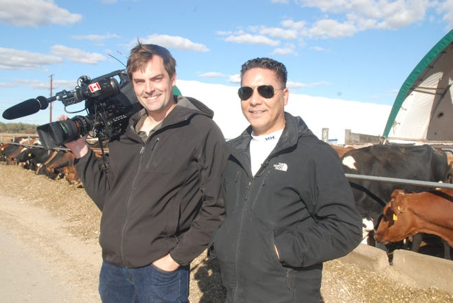 Canadian television reporter Richard Madan (right) and his cameraman Marley Parker visited the Dane County dairy farm of Wisconsin State Farmer correspondent Jan Shepel and her husband Jim Koch on October 23 as part of their network's coverage of how the new USMCA trade deal will affect the dairy industry. They were in the state to cover President Donald Trump's appearance in north central Wisconsin.