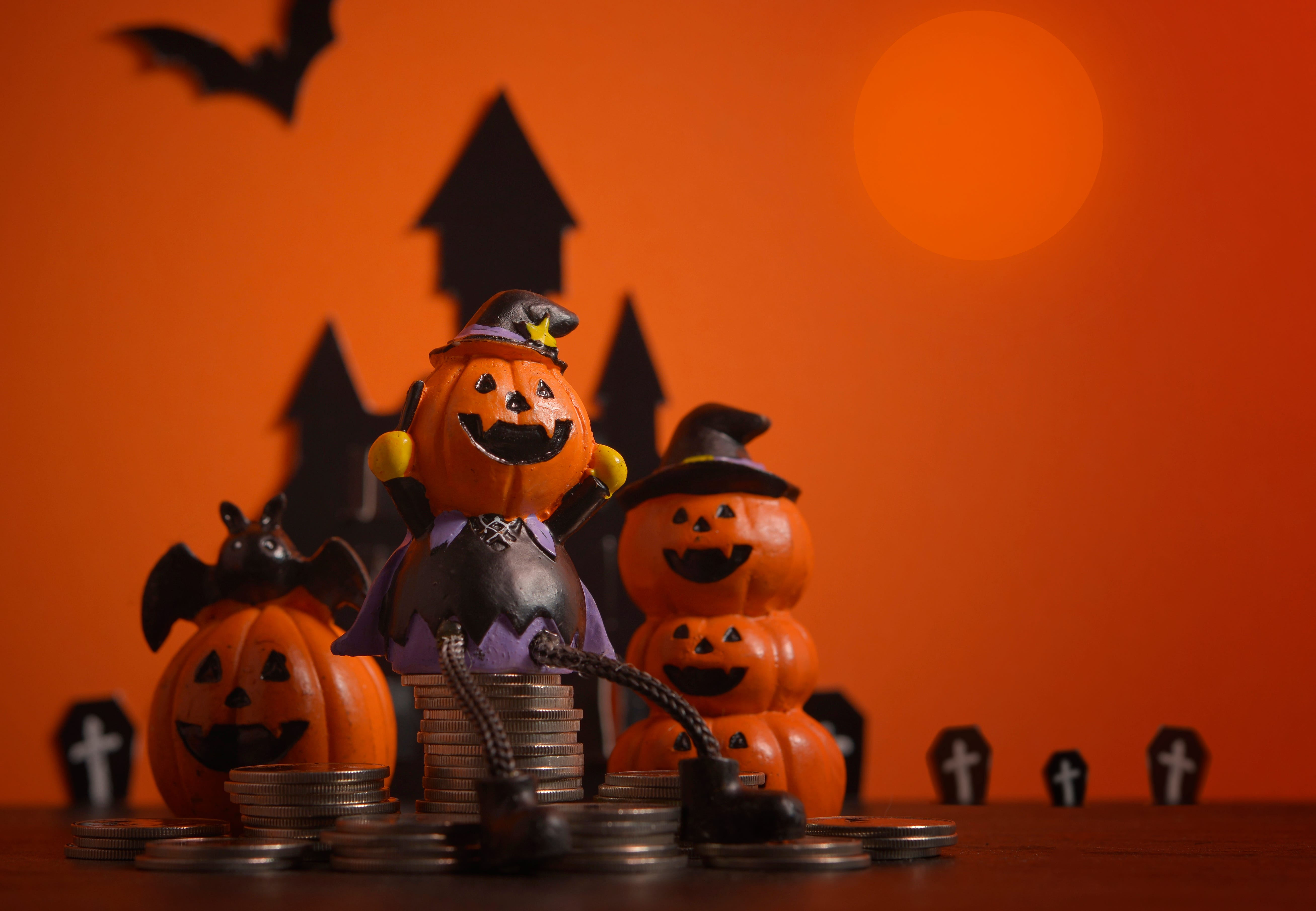 Halloween Pumpkins Jack O Lantern On Orange Background Halloween Pumpkin Background Halloween Jack O Lantern Halloween Jack O Lantern Happy Halloween