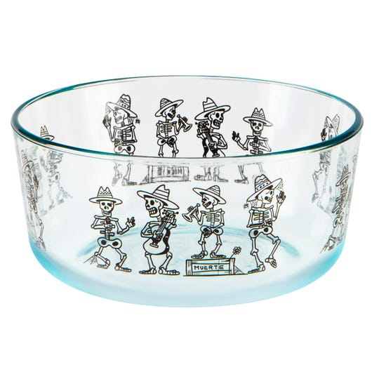 Pyrex launched a 7-cup Day of the Dead container featuring a skeletal Mariachi Band in September.