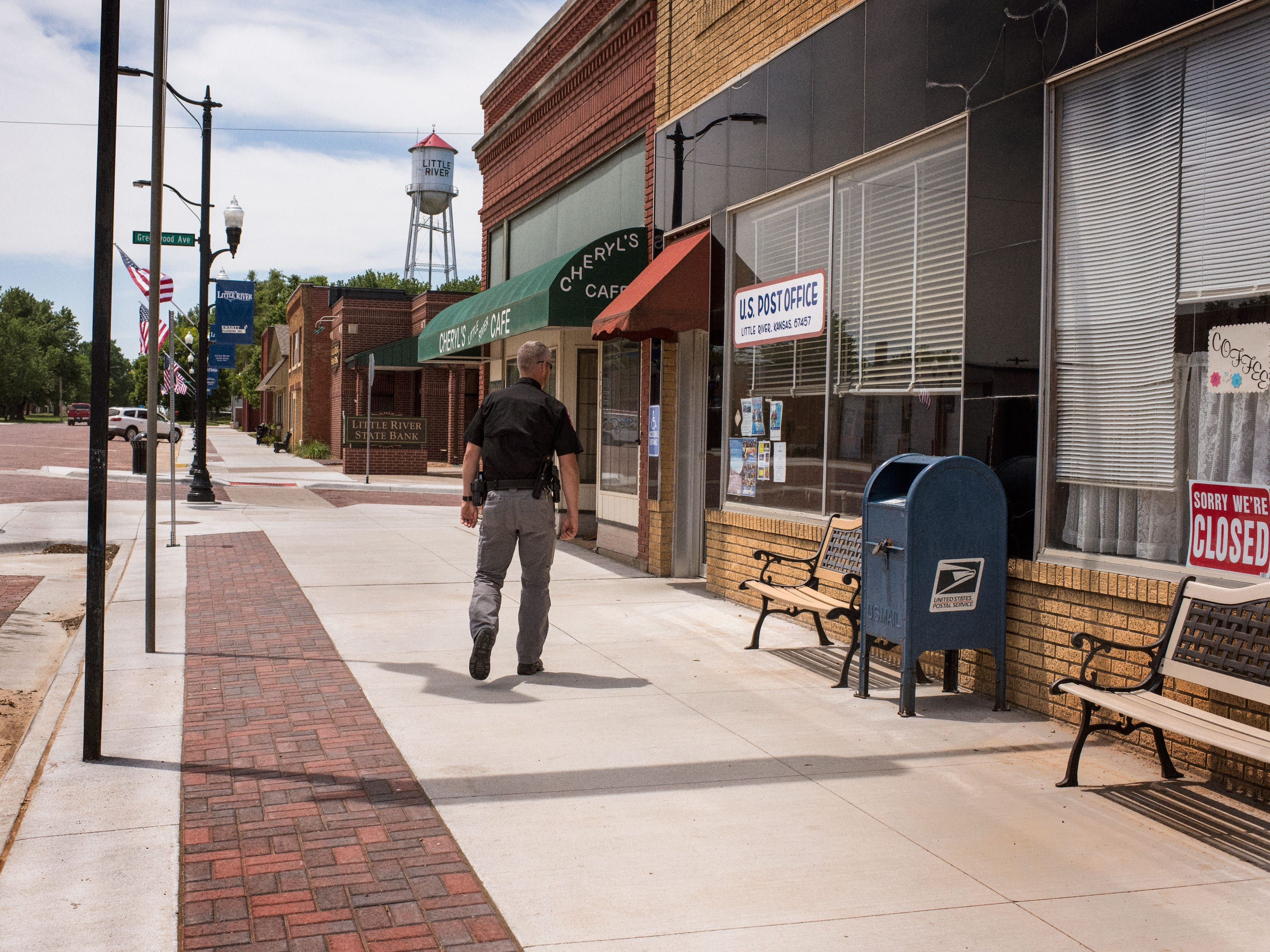 Johanning walks down Main Street in Little River