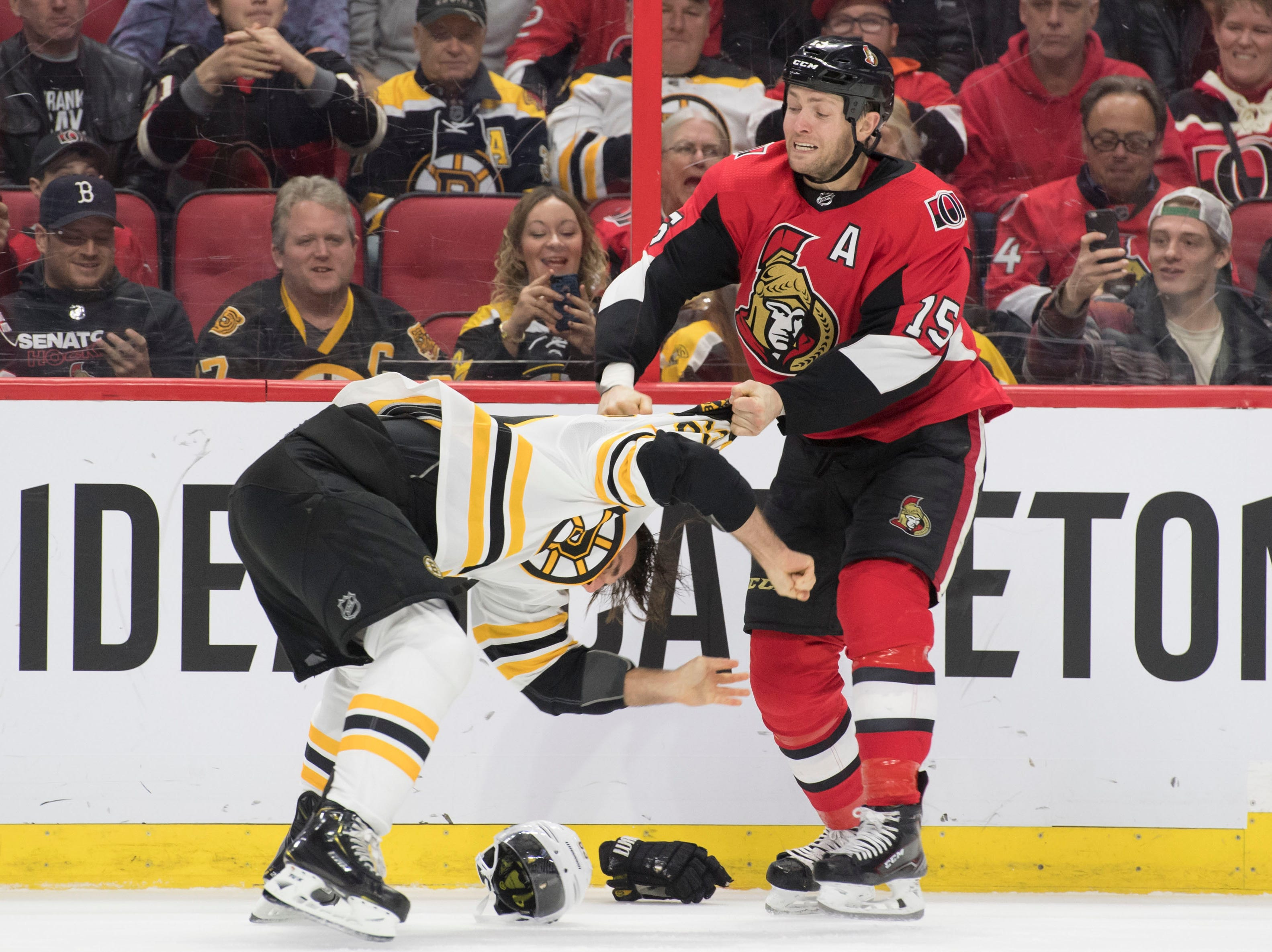 Oct. 23: Boston Bruins' Brad Marchand vs. Ottawa Senators' Zack Smith.