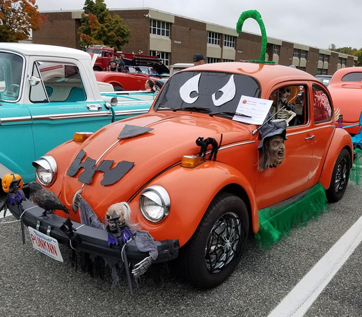 Halloween themed vehicle in Whitman, Massachusets captured by Lisa Coplin.