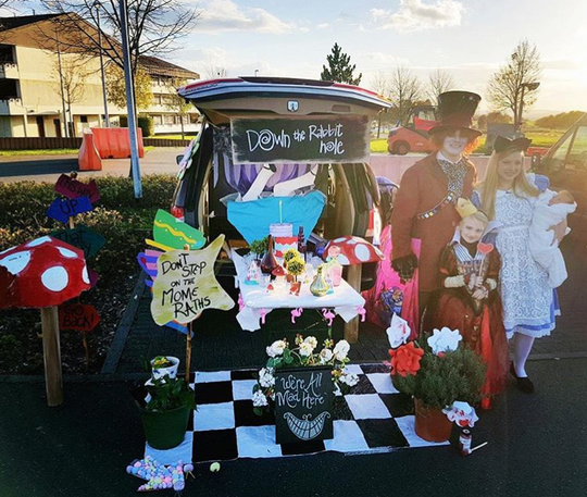 Luke Royal's family went with an Alice in Wonderland theme. They entered and won a trunk decorating contest.