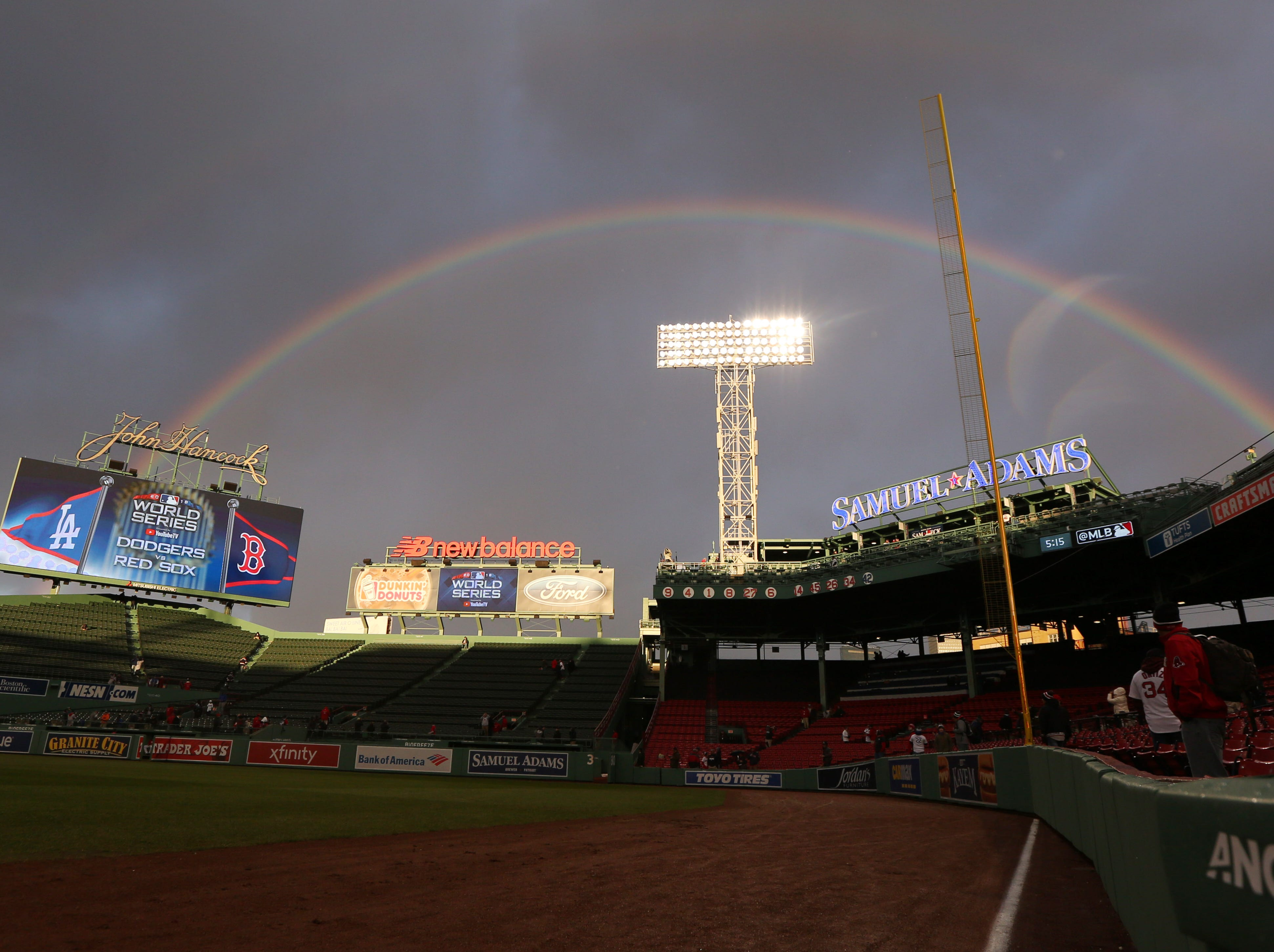 Game 2 at Fenway Park: A double rainbow appears before the game.