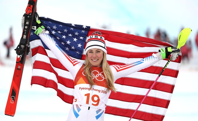 Mikaela Shiffrin celebrates winning the silver medal in the alpine skiing combined event during the Pyeongchang 2018 Olympic Winter Games at Jeongseon Alpine Centre.