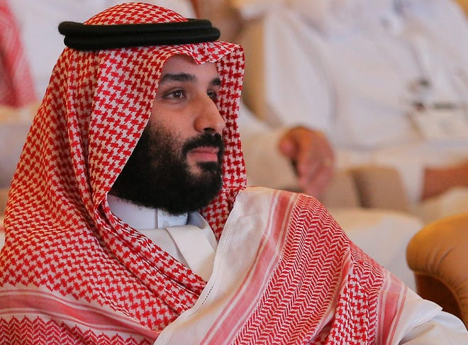 Saudi Crown Prince Mohammed bin Salman attends a session at the Saudi Arabia's investment conference, in Riyadh, Saudi Arabia,