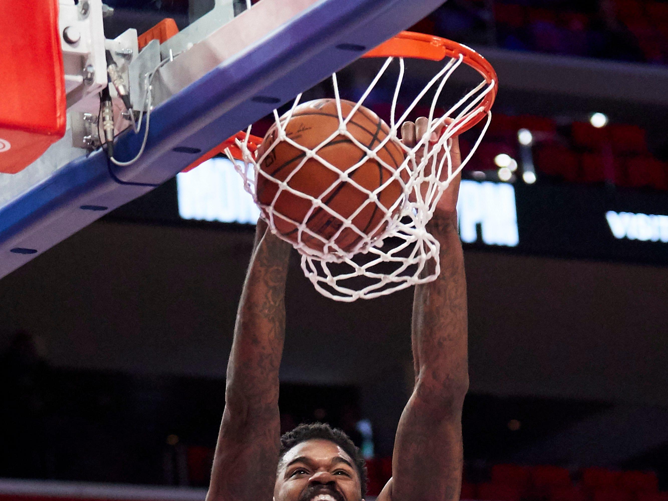 Oct. 23: Philadelphia 76ers center Amir Johnson dunks in the first half against the Detroit Pistons at Little Caesars Arena.