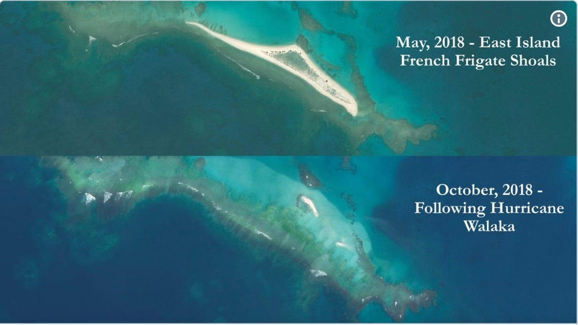 Image result for Before and after Hurricane Walaka: Hawaii's East Island vanishes