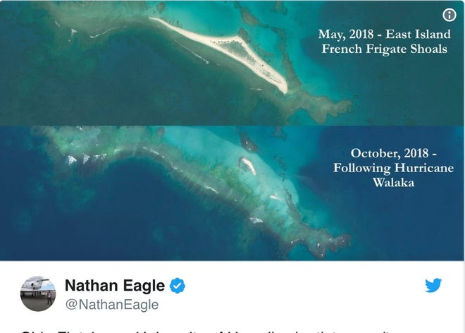 Before and after photos of East Island, shown in a tweet from @NathanEagle.