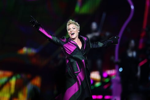 """I grew up listening to 'Annie' and no one has done this for me – for my heart – since I was a little girl,"" Pink told ""The Greatest Showman"" songwriters Benj Pasek and Justin Paul in the video."