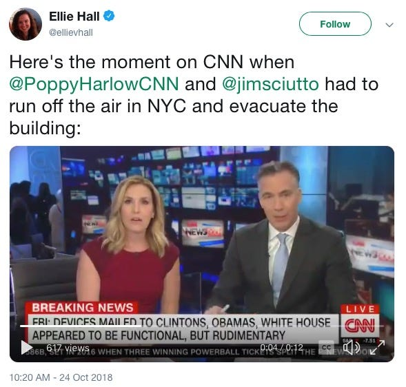 Poppy Harlow and Jim Sciutto were interrupted while anchoring the news Wednesday morning when a fire alarm sounded because of a reported suspicious package sent to the Time Warner office.