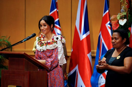 Meghan, Duchess of Sussex speaks during a visit to the University of the South Pacific on October 24, 2018 in Suva, Fiji.