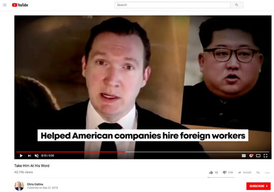 This screen shot from a campaign ad posted on YouTube posted by western New York Congressional candidate Republican U.S. Rep. Chris Collins, features his Democratic opponent Nate McMurray speaking in Korean while captions from the Collins campaign accuse McMurray of working to send jobs to China and Korea. It is among several attack ads raising critiques of how race and ethnicity are being injected into some of this election cycle's races, also including the New York governor's race, where accusations of anti-Semitism were invoked.