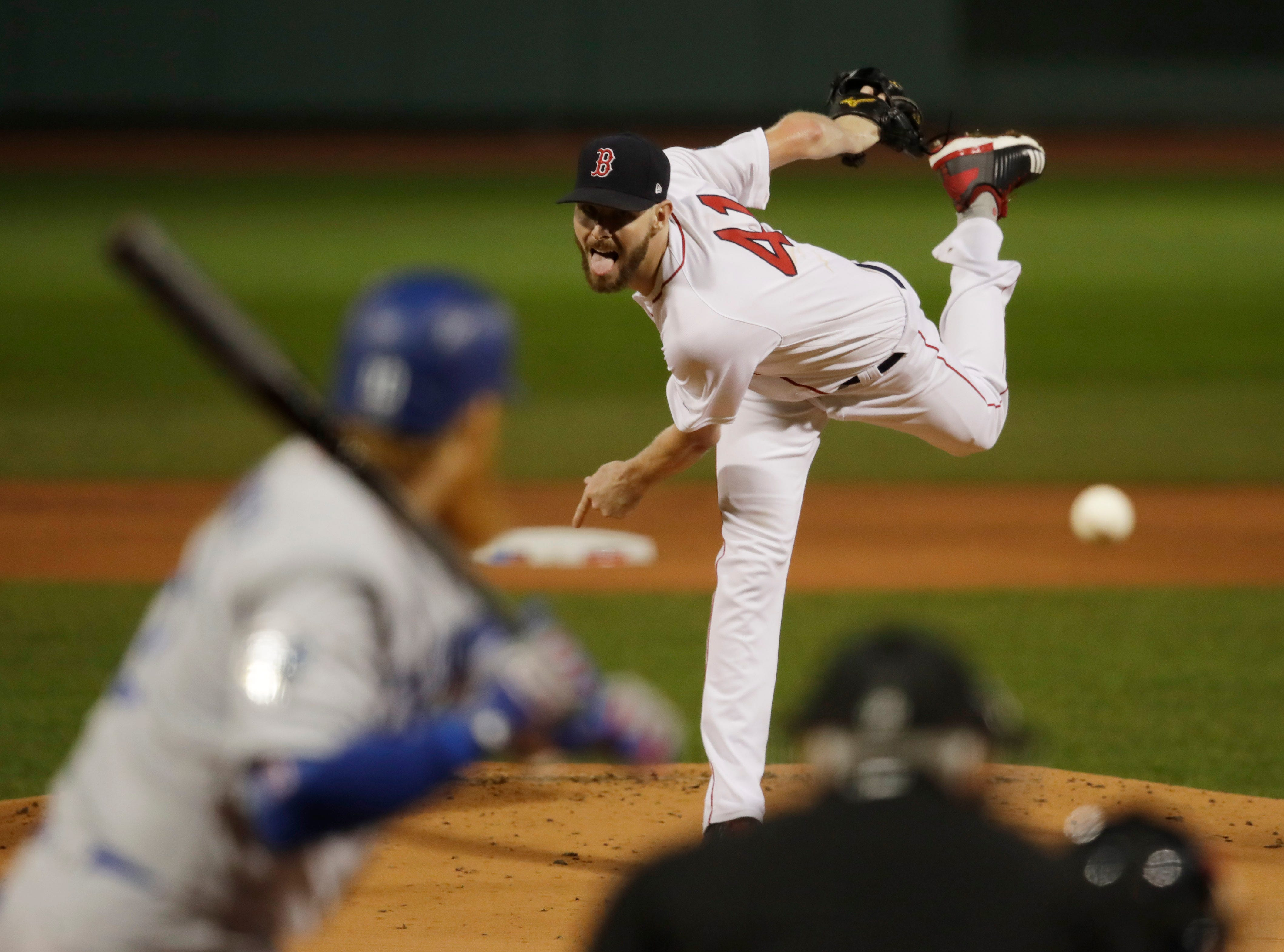 Game 1 at Fenway Park: Chris Sale throws a pitch in the first inning.