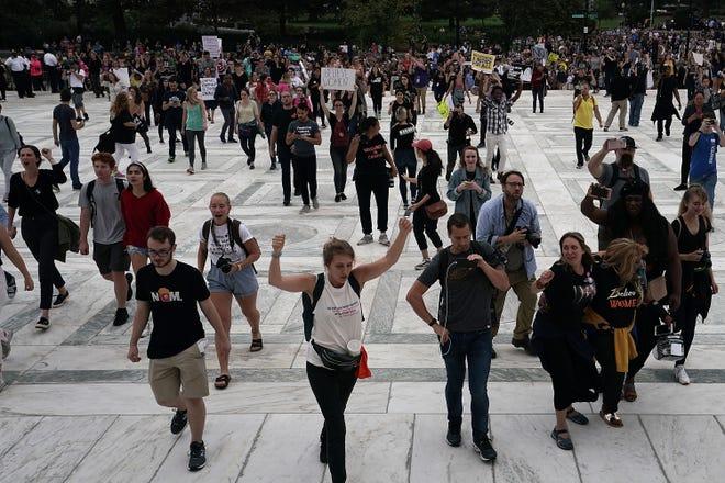 Protestors near the Supreme Court on Oct. 6, 2018.